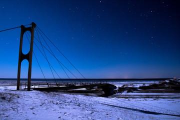bridge and stars at night