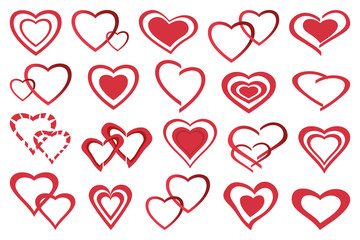 Set of different stylized red hearts