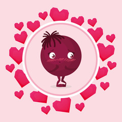happy emoticon with hearts circular frame