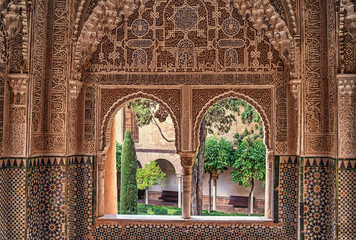 Papiers peints Con. ancienne Detail of the royal palace Nazaries of the Alhambra, Granada, Andalucia, Spain