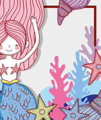 mermaid woman with starfish and seaweed with shells