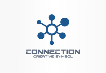 Connect creative symbol concept. Social media network, communication hub abstract business logo. Global link, data share, digital technology icon.