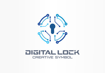 Digital lock creative symbol concept. Circuit circle safe, bank access system abstract business logo. Finance money protect, safety payment icon