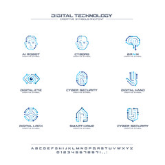 Digital technology creative symbols set, font concept. AI circuit brain abstract business logo. Cyborg face, head, smart robot hand icon