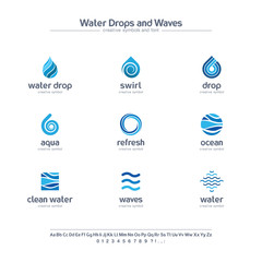 Clean water drops and waves creative symbols set, font concept. Fresh swirl blue color abstract business logo. Ocean, sea, spiral icon.