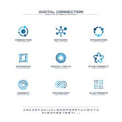 Digital connect creative symbols set, font concept. Social media network abstract business logo. Internet technology, communication icon.