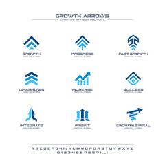 Growth arrows creative symbols set, font concept. Finance profit, bank, stock market abstract business logo. Increase, grow up chart icon