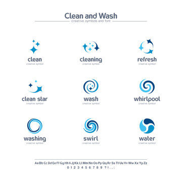 Clean and wash creative symbols set, font concept. Water refresh, laundry service abstract business logo. Swirl, shine, sparkle star icon.