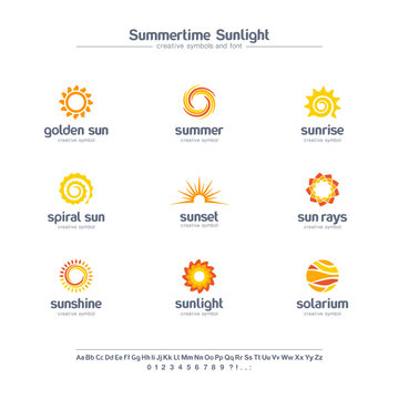 Summertime sunlight creative symbols set, font concept. Spiral sun rays, solarium abstract business logo. Summer sunrise, gold star icon.