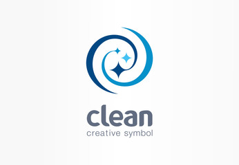 Sparkle star, fresh smile creative symbol concept. Wash, swirl, laundry, cleaning company abstract business logo. Housekeeping, shine, cleaner icon