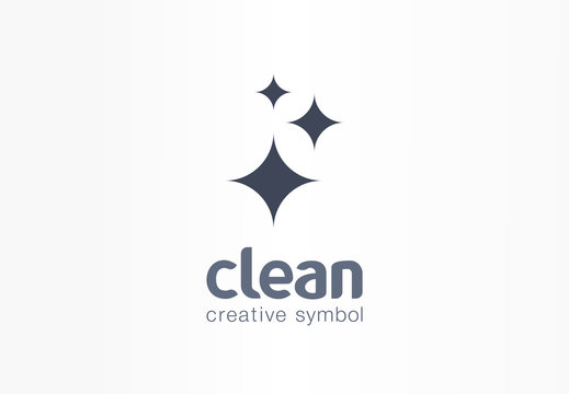 Sparkle star, fresh creative symbol concept. Lightning, astronomy, glare, cleaning company abstract business logo. Housekeep, shine, cleaner icon