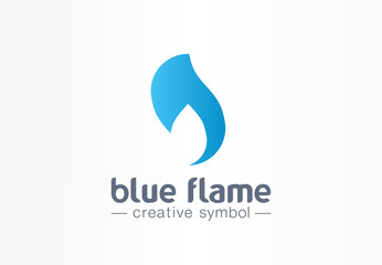 Blue flame energy creative symbol concept. Power fire and water silhouette abstract business fight logo. Hot fireball, gas shape, petrol fuel icon.