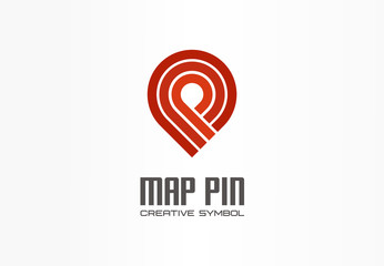 Map pin creative navigation symbol concept. Finish gps location marker abstract business transport logo. Travel checkmark direction, logistics icon.