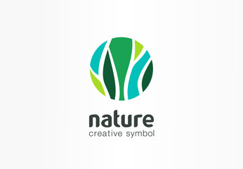 Nature creative symbol organic concept. Bio herbal health care abstract business eco logo. Fresh food, circle package, beauty flora, pharmacy icon.