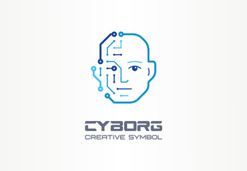 AI robot technology creative symbol machine concept. Digital bionic cyborg face abstract business future logo. Smart humanoid, circuit board icon.
