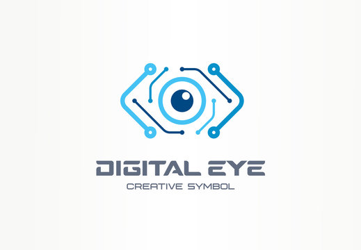 Digital eye creative symbol concept. Cyber vision, circuit board abstract business logo. Video camera control, futuristic technology, vr view icon.