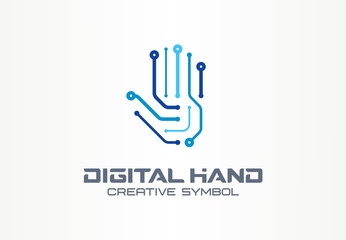 Digital hand creative symbol concept. Robot arm, futuristic technology, cyber security abstract business logo. Circuit tech, communication icon.