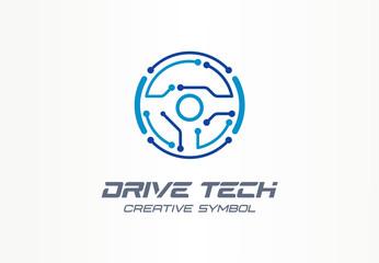 Drive tech creative symbol concept. Autonomous car, futuristic auto technology abstract business logo. Driver less vehicle, vr steer wheel icon.