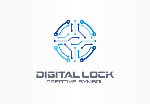 Digital lock creative symbol concept. Circuit circle safe, access control system abstract business logo. Data protect, cyber security, safety icon