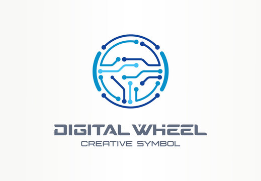 Digital steer wheel creative symbol concept. Electric car, autonomous vehicle abstract business logo. Driverless transport, automation tech icon