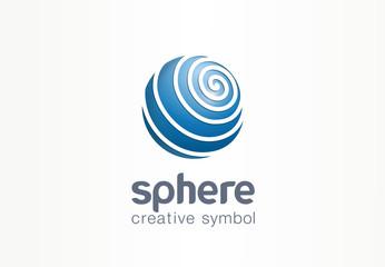 Sphere creative internet symbol concept. Globe communication network abstract web business logo. Digital earth data, social media technology icon.