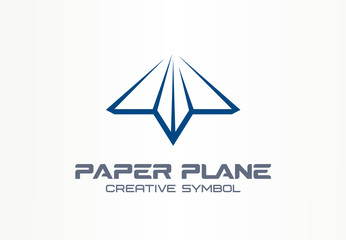 Paper plane creative messenger symbol concept. Letter shaped arrow abstract business communication logo. Contact telegram, send mail message icon.