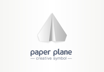 Paper plane creative symbol concept. Letter message flight in arrow up airplane abstract business logo. Social media, communication send mail icon.