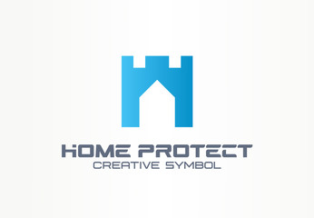 Home protect creative security symbol building concept. Safe house tower wall abstract business logo. Real estate, castle guard foundation icon