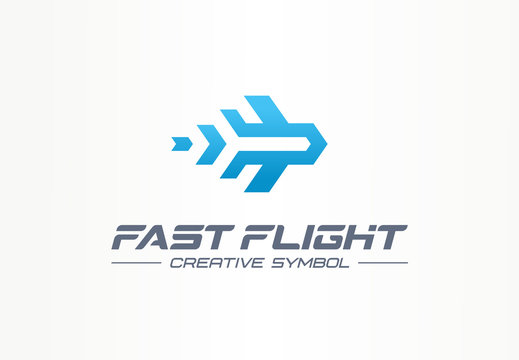 Fast flight creative symbol travel concept. High speed plane abstract business aviation logo. Jet arrow rocket route way, airplane trip ticket icon.