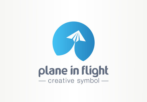 Plane in flight creative symbol concept. Paper air message abstract business travel logo. Send direct email letter, speed lunch airplane trip icon.