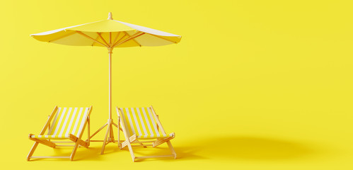 Beach umbrella with beach chairs on yellow background. summer vacation concept. 3d rendering Wall mural