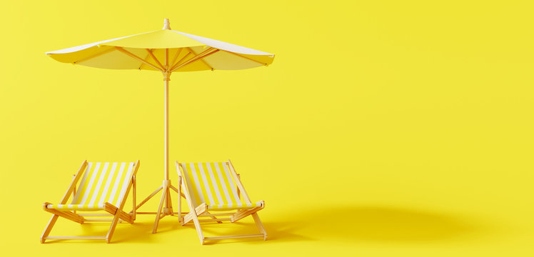 Beach umbrella with beach chairs on yellow background. summer vacation concept. 3d rendering