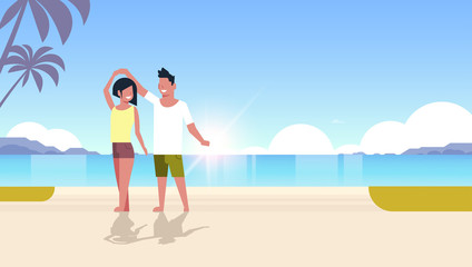 couple dancing on sea beach man woman lovers having fun summertime summer vacation concept seaside palm tree mountains seascape background flat horizontal vector illustration