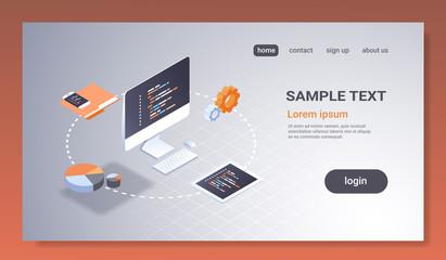 software web site design development concept programming language program code big data processing on computer screen 3d isometric coding technologies horizontal copy space