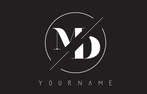 MD Letter Logo with Cutted and Intersected Design