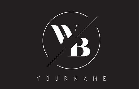 WB Letter Logo with Cutted and Intersected Design