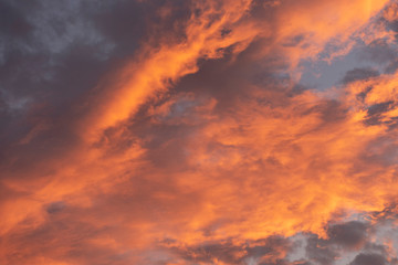 evening sky with colorful sunlight on cloudy in the evening background