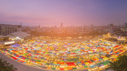 Aerial view Bangkok city flea market, cityscape background