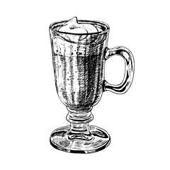 Hand drawn glass cup with latte or cappuccino. Vector sketch