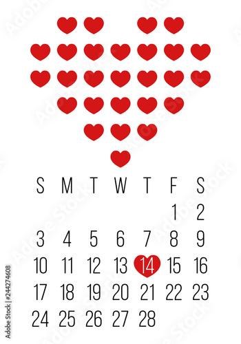 February Calendar 2019 Grid big heart shape with small hearts, february 2019 calendar grid