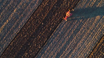 Wall Mural - Aerial view of harvest fields with tractor. Farmer plowing stubble field.