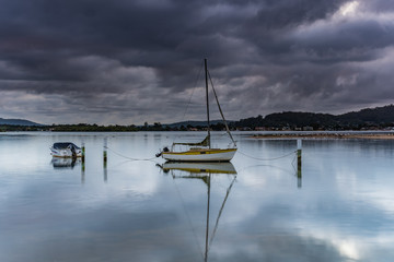Early Morning Clouds and Reflections on the Bay