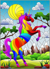 Illustration in stained glass style with rainbow cartoon unicorn on  background of mountains, greenery and sky