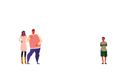 couple parents standing together looking at son hands folded pose family mother father and child full length cartoon characters horizontal