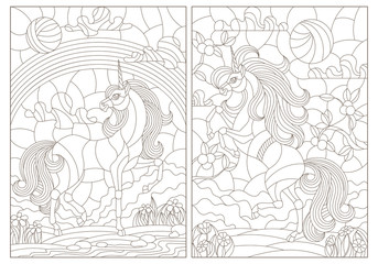 Set of contour illustrations in stained-glass style unicorns on the background of landscapes, dark contours on a white background