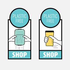 Plastic free shop symbol set. Bringing your own reusable container to reduce plastic pollution. Vector illustration.