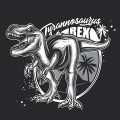 Vector illustration of Tyrannosaurus Rex. Monochrome illustration on a dark background.