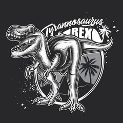 Vector illustration of Tyrannosaurus Rex. Monochrome illustration on a dark background.