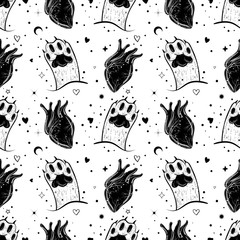 Dark gothic pattern with cat's paw and hearts.