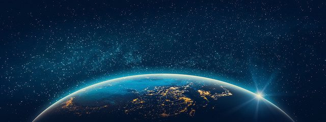 Wall Mural - Planet Earth - Asia city lights